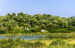 Sedir island. (Turkish: Sedir Adası)  (ancient city of Kedriai), also known as Cleopatra Island, is a small island in the Gulf of Gökova of southwestern Stock Photography