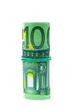 Sedlar av euro 100 rullande med gummi Royaltyfria Bilder