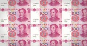 Sedlar av hundra renminbi kinesiska rullning på skärmen, ögla vektor illustrationer