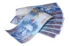 Sedlar av hundra schweizisk franc på vit bakgrund fotografering för bildbyråer