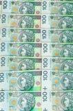Sedlar av 100 PLN (den polska zlotyen) Arkivfoto