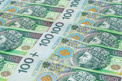 Sedlar av 100 PLN (den polska zlotyen) Arkivbilder