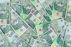Sedlar av 100 PLN (den polska zlotyen) Royaltyfri Fotografi