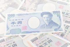 Sedlar av yen för japansk yen 1.000, yen 10.000 royaltyfri foto