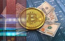 sedlar för bitcoin 3d Arkivbilder