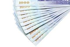 Sedlar för Taiwan dollar på vit bakgrund Fotografering för Bildbyråer