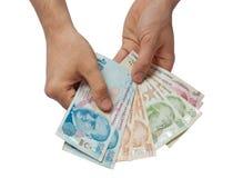 Sedlar för turkisk lira 5000 roubles för modell för bakgrundsbillspengar Arkivfoton