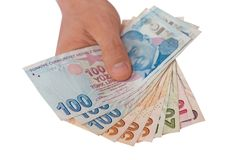 Sedlar för turkisk lira 5000 roubles för modell för bakgrundsbillspengar Arkivbilder