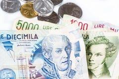 Sedlar från Italien Mynt för italiensk lira och metall Royaltyfri Fotografi