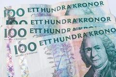 Sedlar hundra svenska krona Arkivbilder