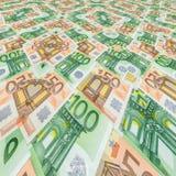 Sedlar 50 och closeup för euro 100 som bakgrund Royaltyfri Bild