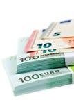 Sedlar 100, 10 och 5 euro Fotografering för Bildbyråer
