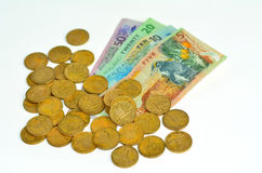 Sedlar och mynt för nyazeeländsk dollar Arkivbild