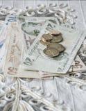 Sedlar och mynt för turkisk lira på tabellen Arkivbild