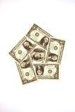 Sedlar $ 100 och USA $ 1 på en vit bakgrund Arkivbild
