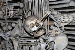 Sedlec藏有古代遗骨的洞穴是一个小天主教教堂, Kutna Hora在捷克 图库摄影
