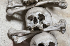Sedlec Ossuary - Charnel-house. The Sedlec Ossuary is a small Roman Catholic chapel, located beneath the Cemetery Church of All Saints in Sedlec, a suburb of royalty free stock image