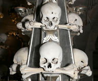 Sedlec Ossuary is a small Roman Catholic chapel, located beneath the Cemetery Church of All Saints in Sedlec, a suburb of Kutna Ho Stock Photos