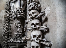 The Sedlec Ossuary. Is a small Roman Catholic chapel, located beneath the Cemetery Church of All Saints in Sedlec, a suburb of Kutná Hora in the Czech royalty free stock photos