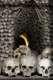 Sedlec Ossuary View. Close up detailed view of Sedlec Ossuary, Church of Bones in Kutna Hora, decorated with real human skeleton bones stock photography
