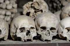 Sedlec Ossuary View. Close up detailed view of Sedlec Ossuary, Church of Bones in Kutna Hora, decorated with real human skeleton bones royalty free stock photo