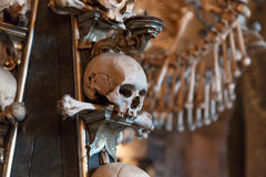 Sedlec Ossuary View. Close up detailed view of Sedlec Ossuary, Church of Bones in Kutna Hora, decorated with real human skeleton bones stock image