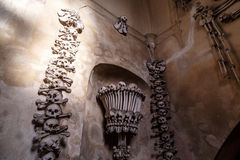 Sedlec Ossuary View. General view of Sedlec Ossuary, Church of Bones in Kutna Hora, designed by real human skeleton bones royalty free stock photography