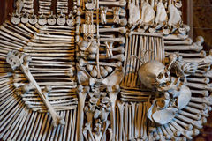 Sedlec Ossuary View. General view of Sedlec Ossuary, Church of Bones in Kutna Hora, designed by real human skeleton bones royalty free stock photos