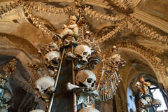 Sedlec Ossuary View. General view of Sedlec Ossuary, Church of Bones in Kutna Hora, designed by real human skeleton bones stock images