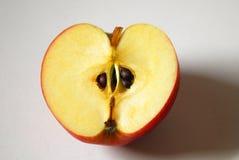 Sedno i ziarno gdy ty ciąca połówka jabłko obraz royalty free