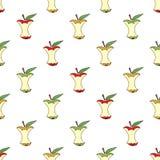 Sedno jabłka bezszwowy deseniowy tło Obrazy Stock