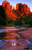 Sedona. Classic Cathedral Rock reflected in Red Rock Crossing Royalty Free Stock Photography