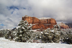 Sedona Arizona efter en sällsynt snöstorm Fotografering för Bildbyråer