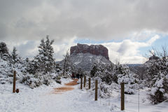 Sedona Arizona efter en sällsynt snöstorm Arkivfoto