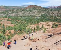 As Cathedral Rock Trail Steepens, Hikers Become Climbers. SEDONA, ARIZONA, OCTOBER 11. The Cathedral Rock Trail on October 11, 2017, near Sedona, Arizona. As Stock Images