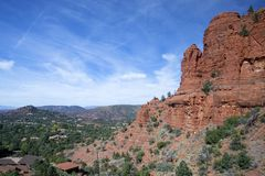 Sedona Arizona som sett uppifrån Arkivbilder