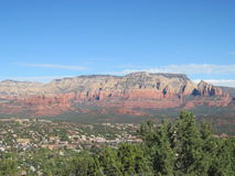 Sedona Arizona Sunny Day. This is Sedona Arizona on Sunny day.  The beautiful red rocks and the clouds in the sky are a wonderful backdrop.  There are pictures Royalty Free Stock Images