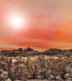 Sedona Arizona Sunrise. Sunrise at Red Rock country mountains surrounding Sedona Arizona Stock Image