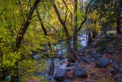 Sedona Arizona USA Fall Colors. Huge boulders line the banks of the creekr Stock Photography