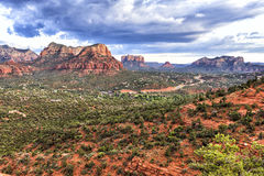 Sedona, Arizona, USA. Panoramic view of Sedona from the Airport Overlook place. Dramatic afternoon sky just before heavy thunderstorm Stock Photos