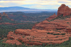 Sedona AZ- Hangover Trail from Merry Go Round 02. Beautiful view of Hangover Trail red rocks from atop Merry go Round, Sedona AZ Stock Image