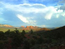 Sedona with clouds stock image