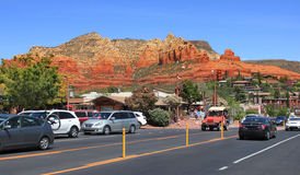 Sedona downtown. View of Sedona, Arizona city center and downtown with backdrop of red rocks Royalty Free Stock Photo