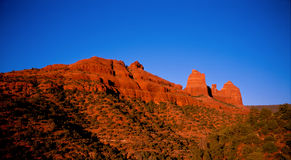 Sedona at Dusk. Red rocks of Sedona glowing in the afternoon sun Royalty Free Stock Photo