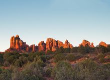 Sedona glows at sundown, Arizona stock photo