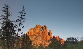 Sedona incandesce no pôr do sol, o Arizona fotografia de stock