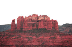 Sedona Mountain. Beautiful Sedona Mountain lush with new greener plants with a pure white sky background stock images