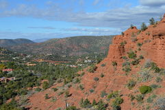 Sedona Mountains with Residences. Autumn Scene  in Sedona, Arizona Stock Photo
