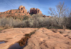 Sedona Red Rock Crossing. Cathedral Rock viewed from Red Rock Crossing in Sedona, Arizona Stock Photo