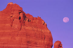 Sedona Red Rock Formation and Full Moon Royalty Free Stock Images